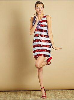 Travestimenti donna - Vestito con paillette motivo bandiera americana - Kiabi