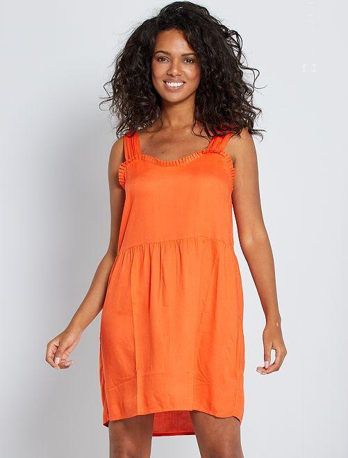 Vestito con scollo con volant                                                                 arancio
