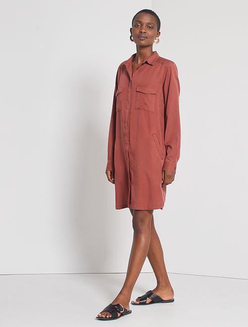 Vestito corto a forma di camicia                                                                 MARRONE
