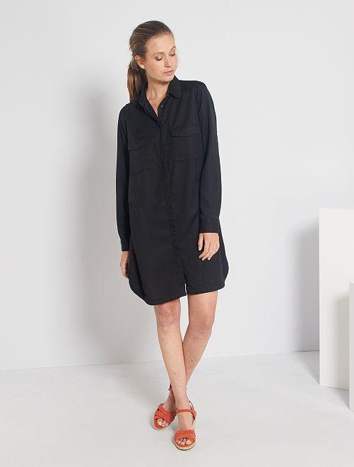 Vestito corto a forma di camicia                                                                 nero