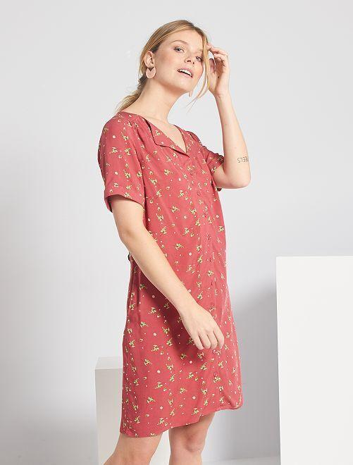 Vestito corto a forma di camicia                                                                     ROSA