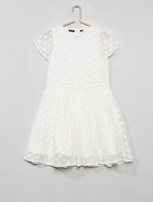 Vestito da cerimonia a fiori                                         bianco neve