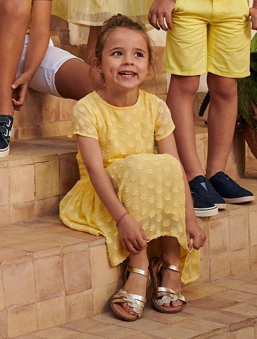 Vestito da cerimonia a fiori                                         giallo limone