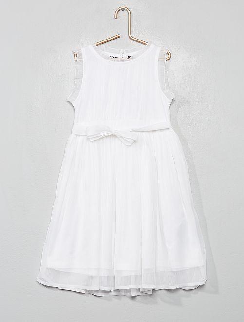 Vestito da cerimonia in mussola                                         bianco neve