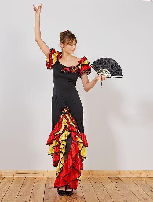 Vestito da flamenco                             nero/rosso/giallo