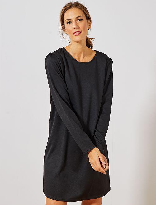 Vestito dritto maglia                             nero