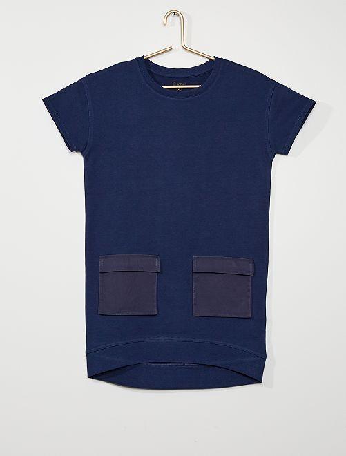 Vestito-felpa in tessuto felpato eco-sostenibile                             BLU