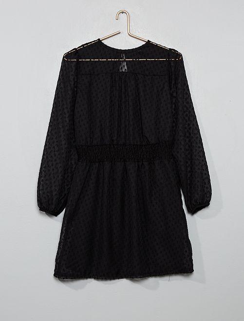 Vestito fluido punto smock in vita                             nero