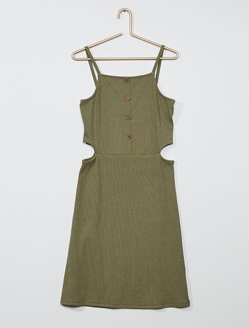 Vestito in maglia a costine                                         verde licheno