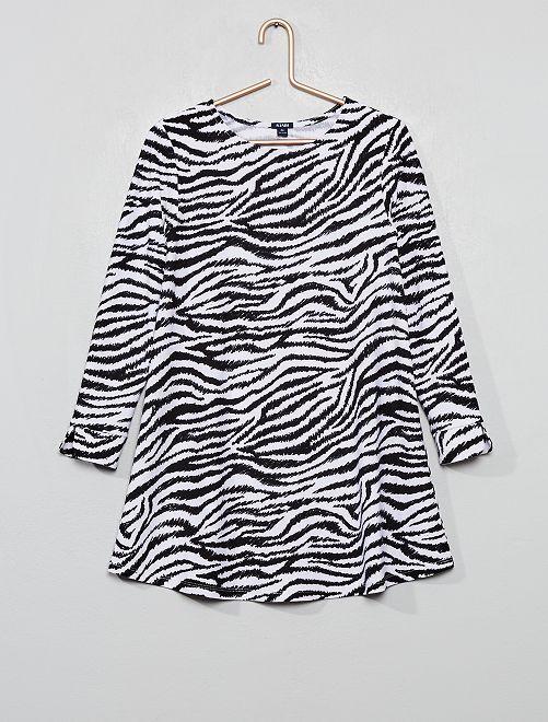 Vestito in maglia fluida stretch 'zebra'                                         NERO