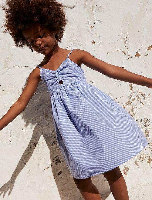 Vestito in popeline eco-sostenibile                             BLU