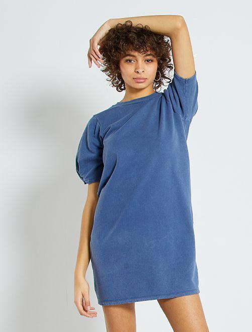 Vestito in tessuto felpato con maniche a palloncino                             BLU