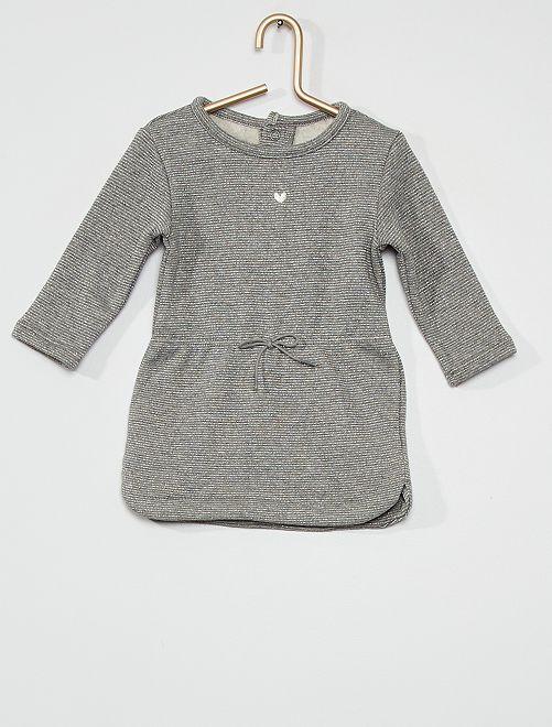 Vestito in tessuto felpato                                                                             grigio a righe