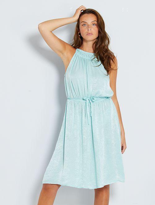 Vestito longuette in raso                             blu