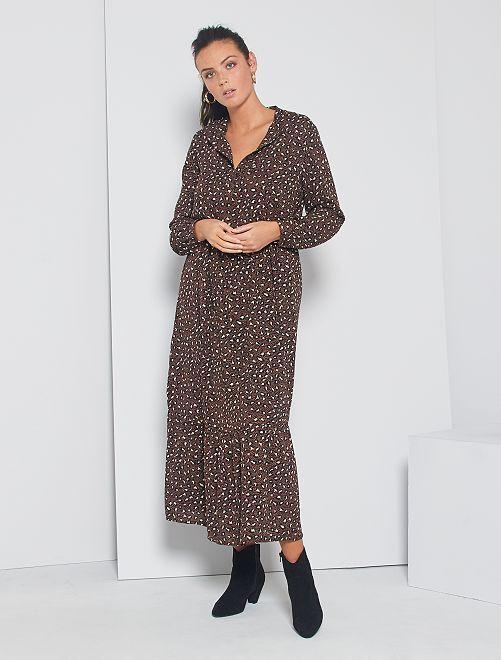 Vestito lungo con motivi leopardati 'JDY'                             MARRONE