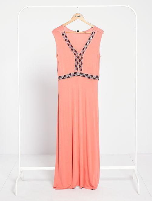 Vestito lungo con perle ricamate                                                                 rosa arancione