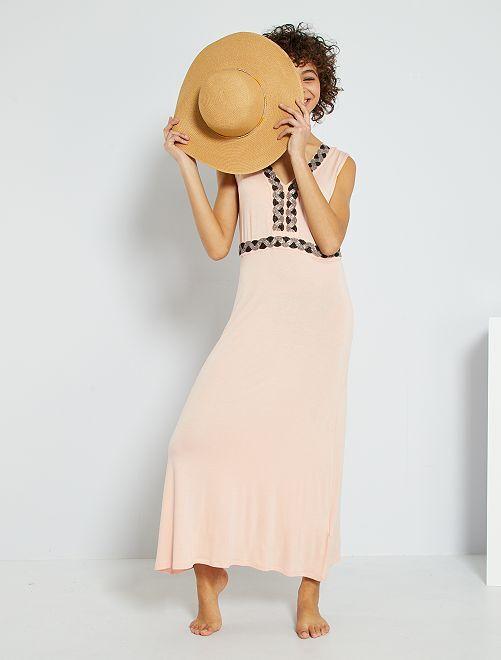 Vestito lungo con perle ricamate                                                                 ROSA