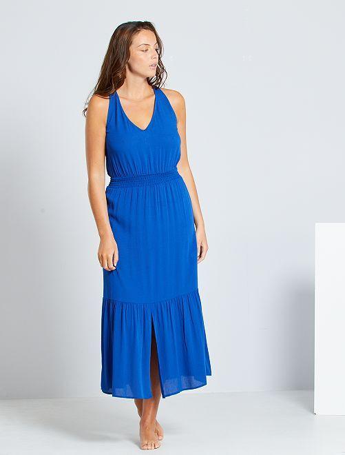 Vestito lungo con punto smock in vita                                                         blu