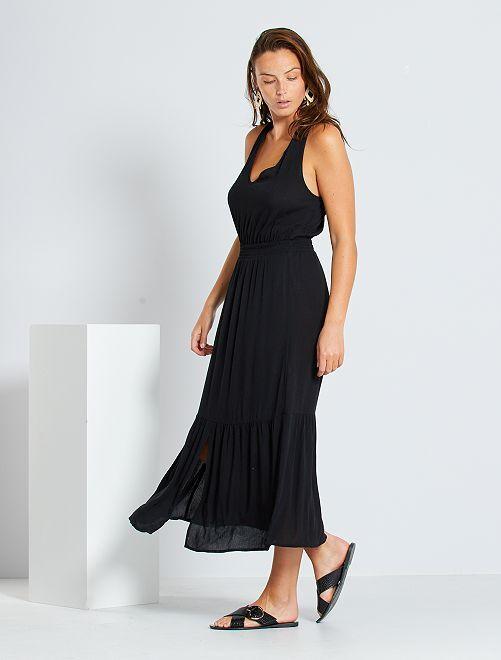 Vestito lungo con punto smock in vita                                                                             nero