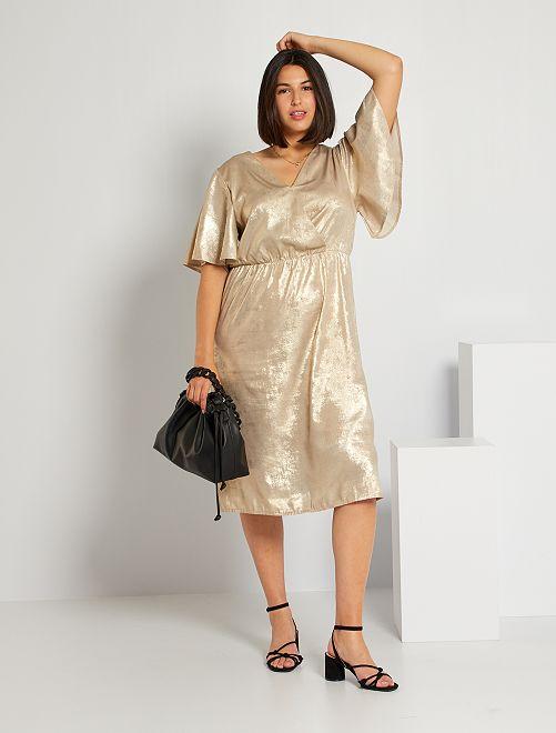 Vestito lungo dorato                             BEIGE