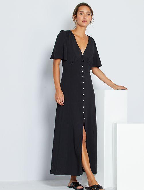 Vestito lungo in viscosa -                     nero