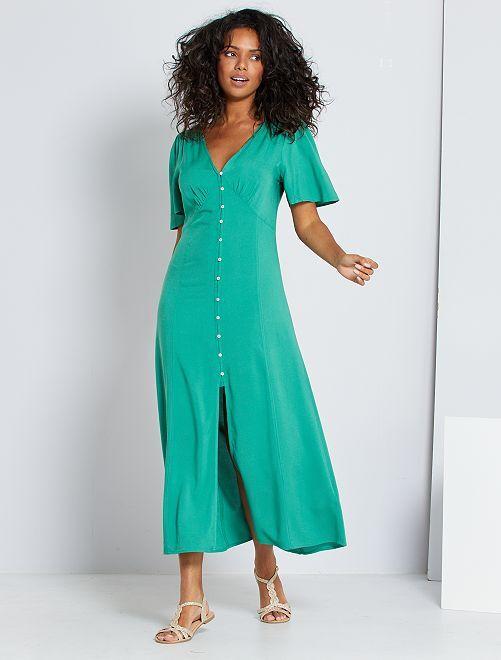Vestito lungo in viscosa -                     verde pino