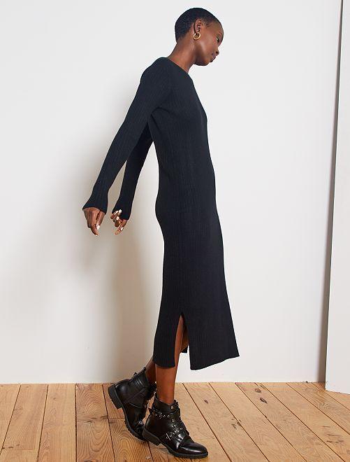 Vestito lungo maglia a coste                     nero
