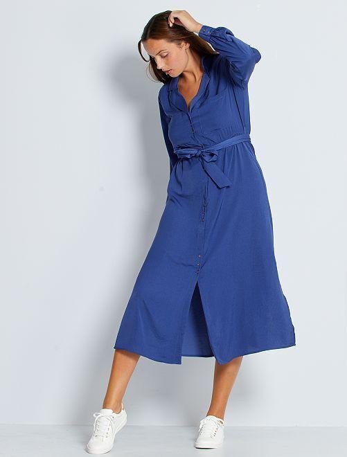 Vestito lungo satinato                                                                 blu cobalto