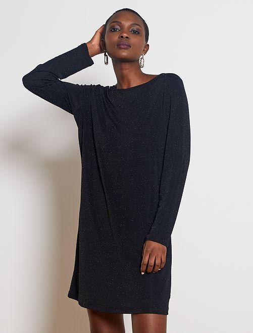 Vestito maglia luccicante dietro aperto                             nero