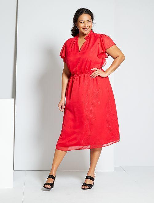 Vestito midi stretto in vita                                 rosso