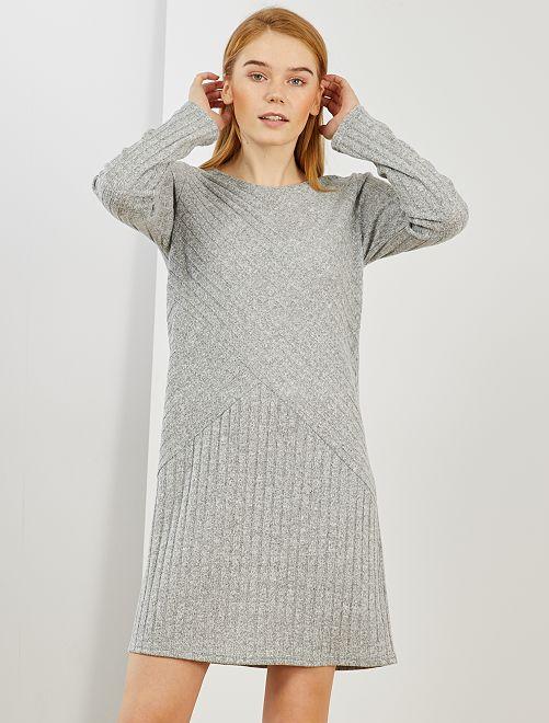 Vestito pullover a coste                                         grigio