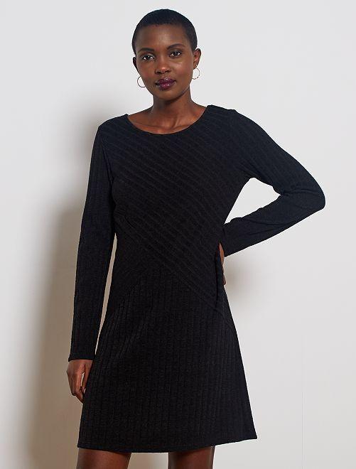 Vestito pullover a coste                                         nero