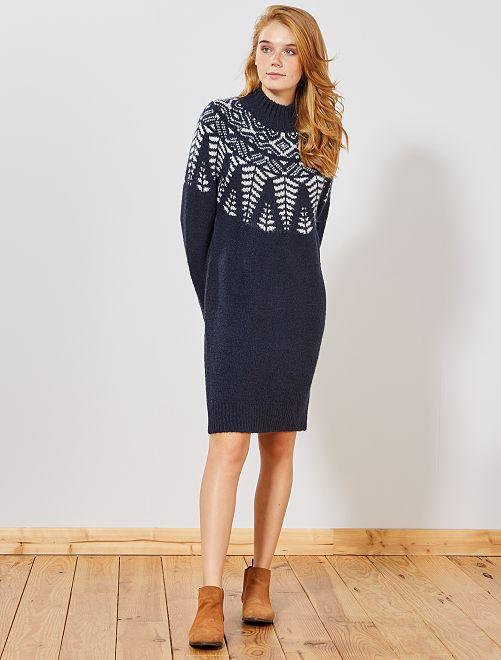 Vestito pullover Jacquard                             BIANCO
