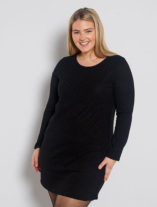 Vestito pullover maglia fantasia                             nero