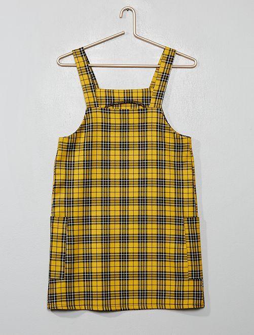 Vestito salopette a quadretti                             a quadri giallo
