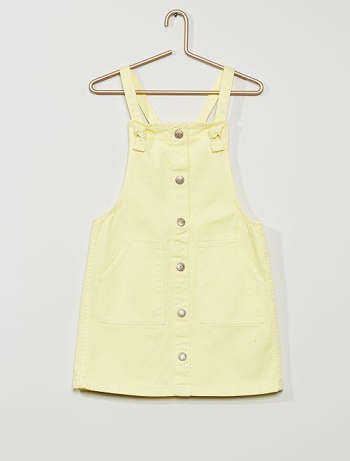 Vestito salopette in twill                                                                             giallo limone
