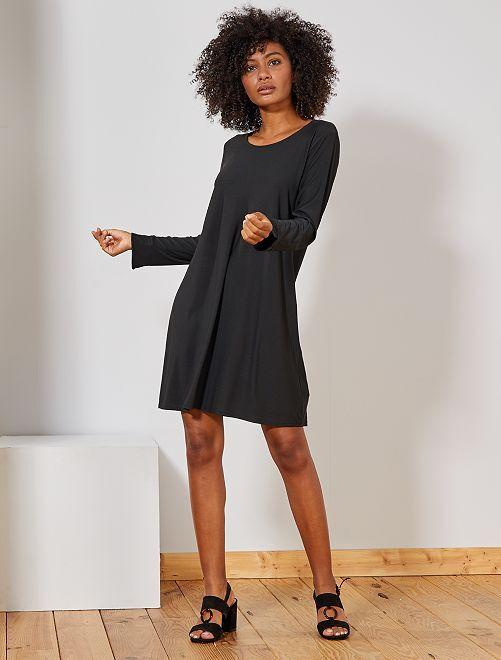 Vestito tinta unita stretch                             nero