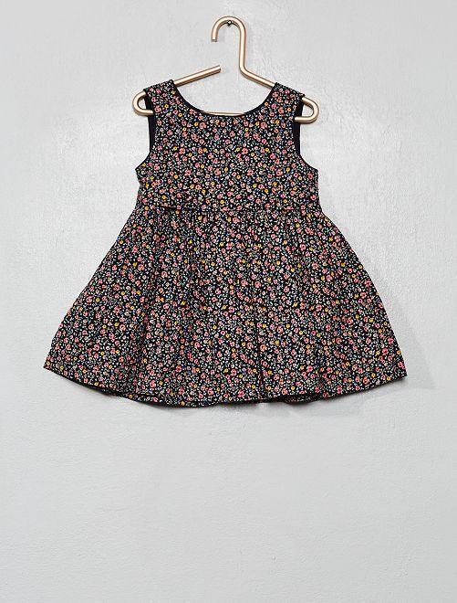 Vestito voile di cotone stampa 'fiori'                                                     BLU