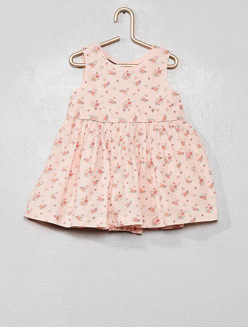 Vestito voile di cotone stampa 'fiori'                                                     ROSA